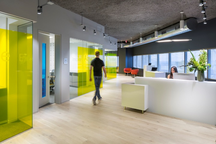 Microsoft office and customer center design by perkins for Sales office design
