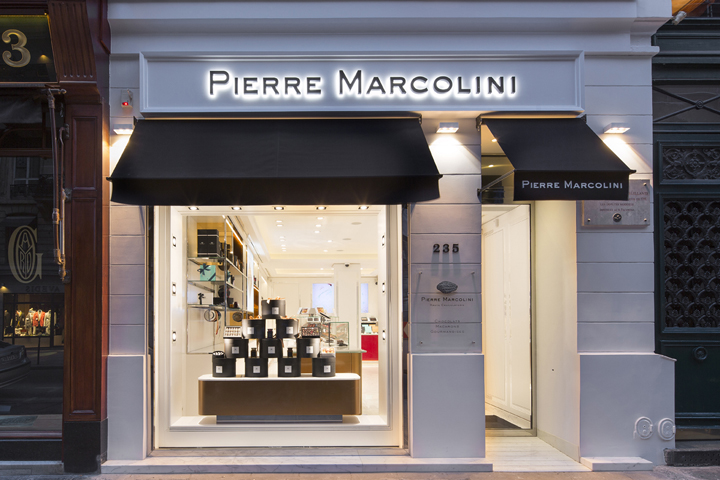 retail design blog pierre marcolini store lighting design by into. Black Bedroom Furniture Sets. Home Design Ideas