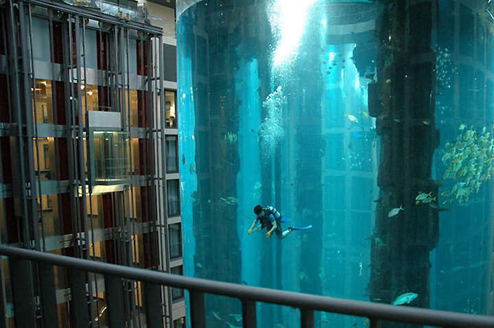 The Aquadom Is Maintained By Sea Life Berlin Which Located Right Next To Hotel Houses 30 Freshwater And R Tanks