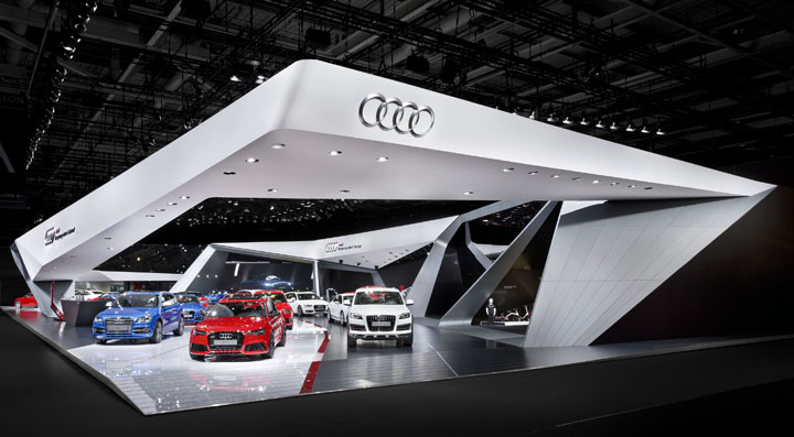 Audi booth at paris motor show by kms blackspace and for Expo design paris