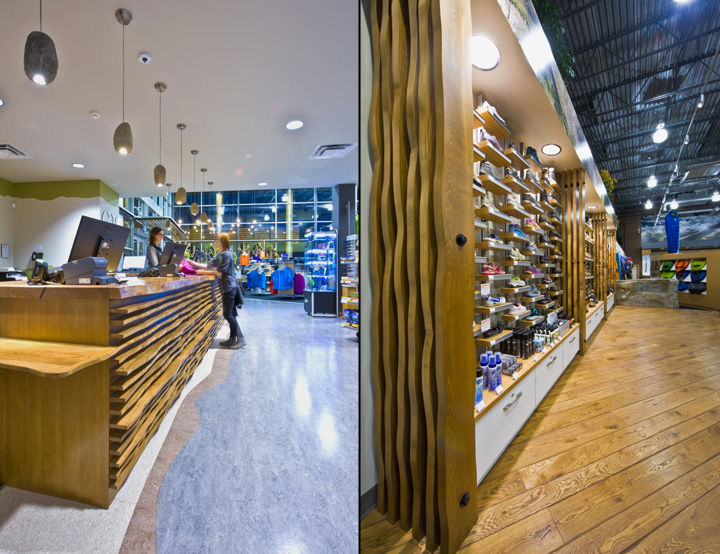 The Footwear Area Is Centrally Located Within The Outdoor Section. Raising  This Area And Framing It With A Faux Rock Outcropping Provides A Distinct  ...