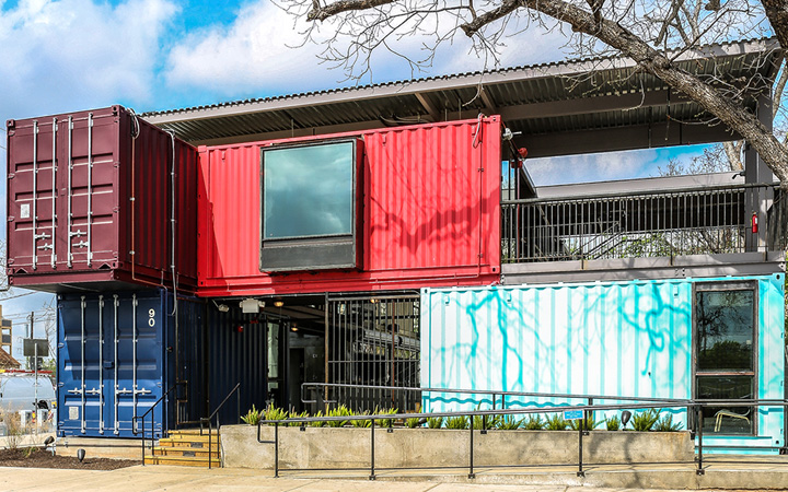 Container bar by north arrow studio hendley knowles design studio austin texas retail - Container homes austin ...