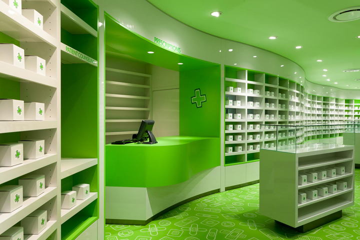 the subtext of the design approach for careland pharmacy is the constant juxtaposition of ideas in order to underline the clinical quality of the pharmacy - Pharmacy Design Ideas