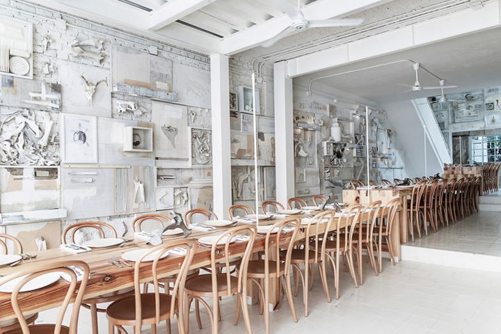 mexican studio cadena asociados converted a building in the city of guadalajara jalisco state to create the 70 square metre restaurant