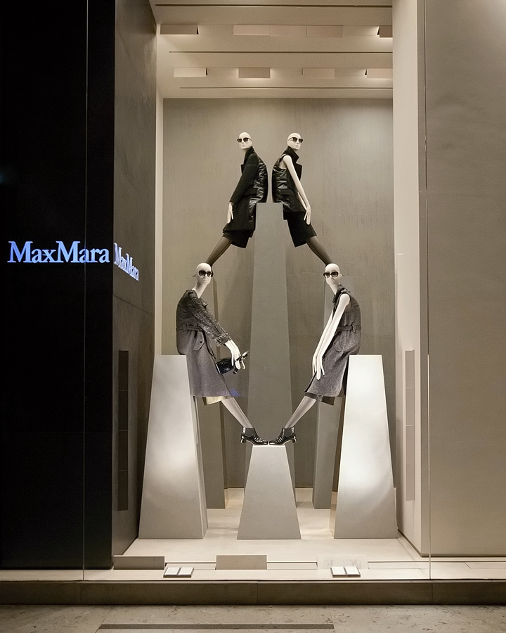 Navy And Grey Visual Merchandising Shop Display November: » Max Mara Windows 2014 Fall, Milan