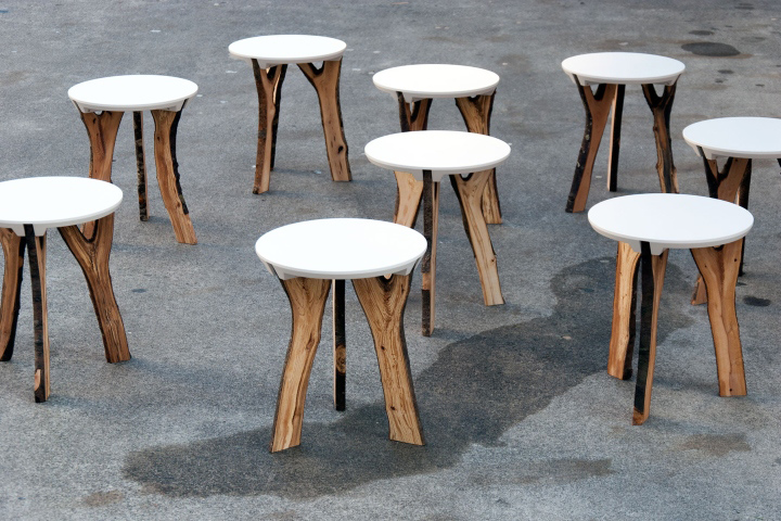 Branch stool by schindlersalmer n retail design blog for Chaise de bar pliante