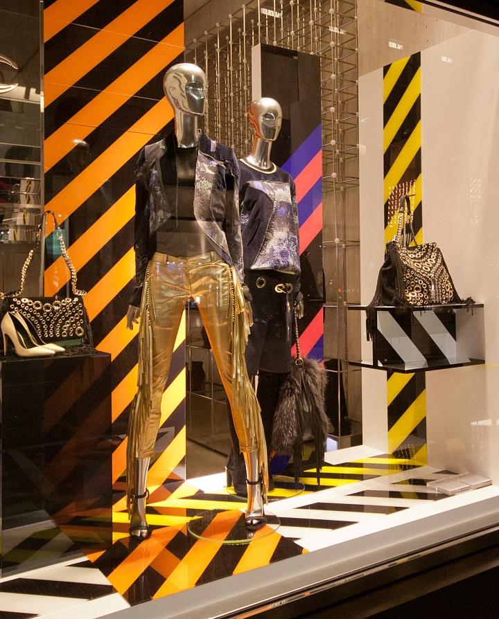 window design visual merchandising just cavalli fashion week windows 2014 milan italy