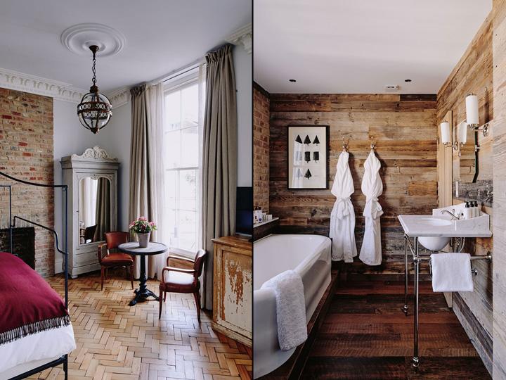 Habitaciones cálidas y confortables con maderas naturales.