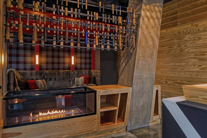 The Bar At The Big Stick Is The Main Focus, Clad In Horizontal Blond Wood  Paneling And Hand Painted With An Alpine Design Motif That Fades From The  Concrete ...