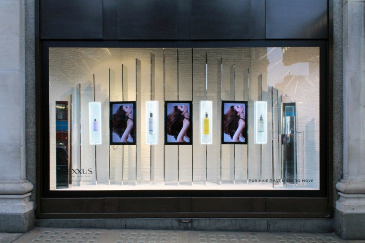 Nexxus pop up salon windows by studioxag at selfridges for Pop window design