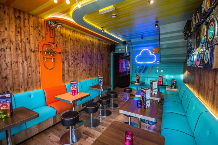 Adventure bar lighting by paul nulty lighting design london uk there is also a bespoke 1980s style infinity mirror with light bouncing round gramophone speakers that turn into light fittings and 1970s hairdryers that mozeypictures Images