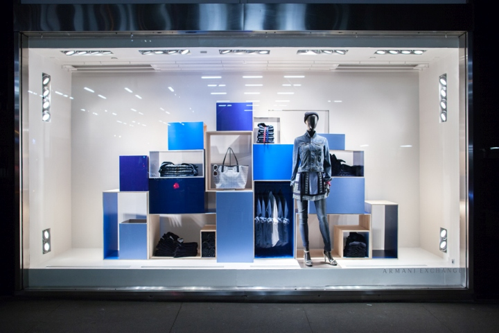 Armani exchange blue on blue windows by visual citi new for Show window designs