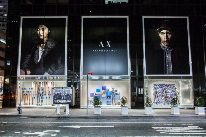 Armani exchange blue on blue windows by visual citi new for Armani store nyc