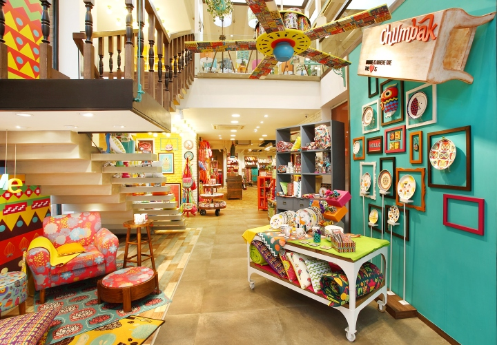 The Store Design Signature Lies In Its Eclectic Nature Hues Textures Patterns Materials All Retain Their Own Personality While Building Up