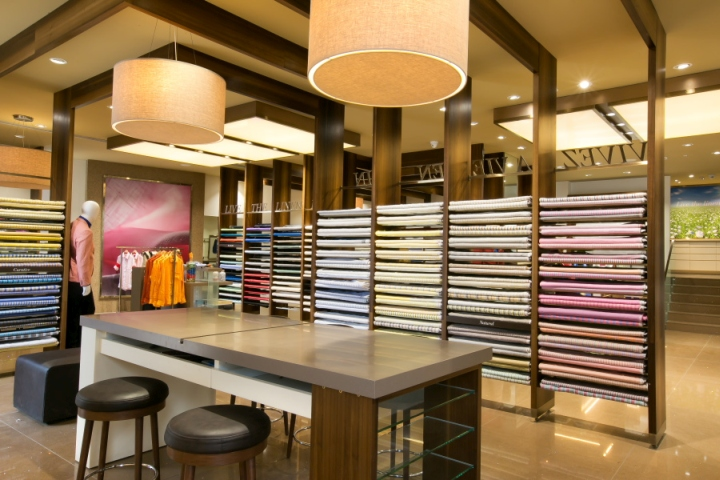 Linen club store by jga and frdc retail design blog for Designer fabric store