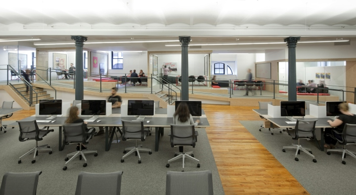 creative agency office. The Platforms And Ramp Connect At Open Pantry With Tiered Levels For Presentations Events. Custom Desks Are Economically Made From Sheets Of Plywood Creative Agency Office