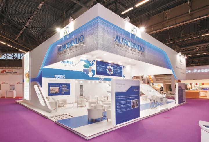 Exhibition Booth Design D : Aurobindo pharma booth by insta exhibitions at cphi