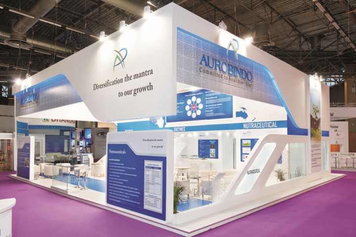Insta Exhibition Stall Pvt Ltd : Aurobindo pharma booth by insta exhibitions at cphi