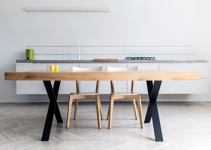 Delicieux The Collection Comprises A Coffee Table And Two Dining Tables. Each  Features A Heavy Oak Tabletop. The Side Table Sits On Top Of A Four Sided  Cube, ...