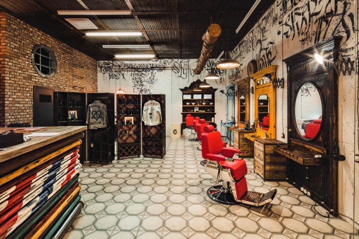 Men's barber shop, retro styled interior design