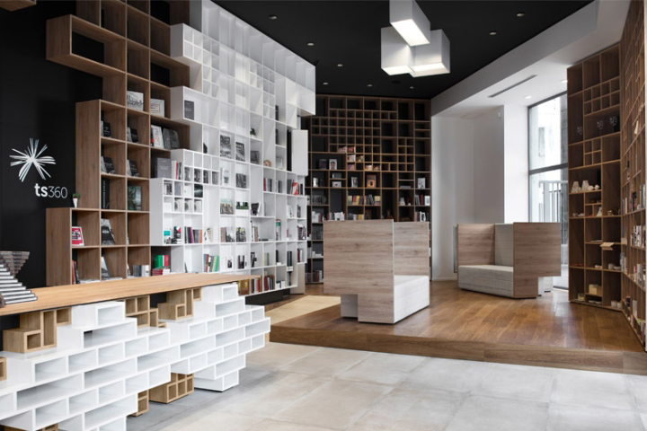 Slovenian Studio SoNo Arhitekti Has Lined A Book Store In Trieste Italy With Floor To Ceiling Stacks Of Shelves Patterns That Reference The