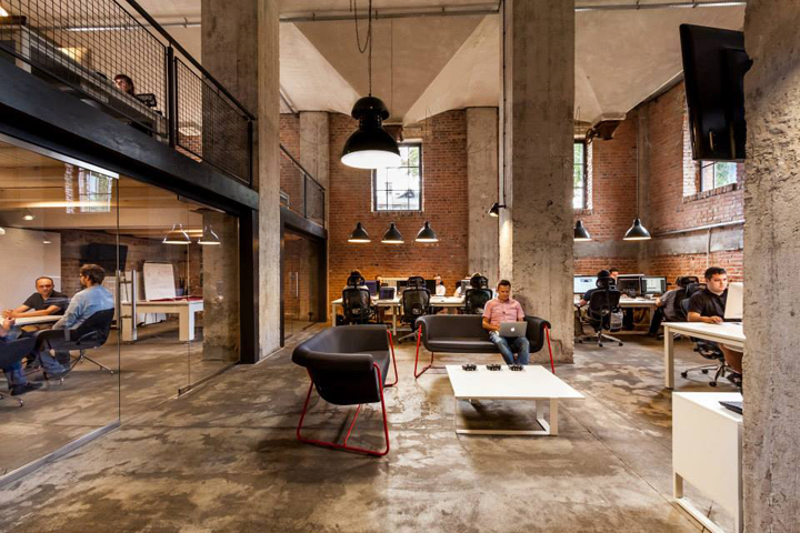 loft style office. The Creative Style Office Is Located In A Former Mill Building. 2002 Over 80- Years Old Building Became First Cracovian Loft. Surface Area Of Loft