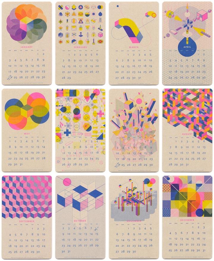 Home Design Editorial Calendar 2016: CALENDAR DESIGN! Isometric Risograph Calendar By Jp King
