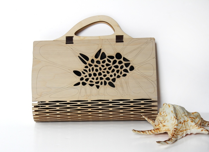 187 Voronoi Amp Delaunay Pattern Wooden Bag By Made In Love Studio