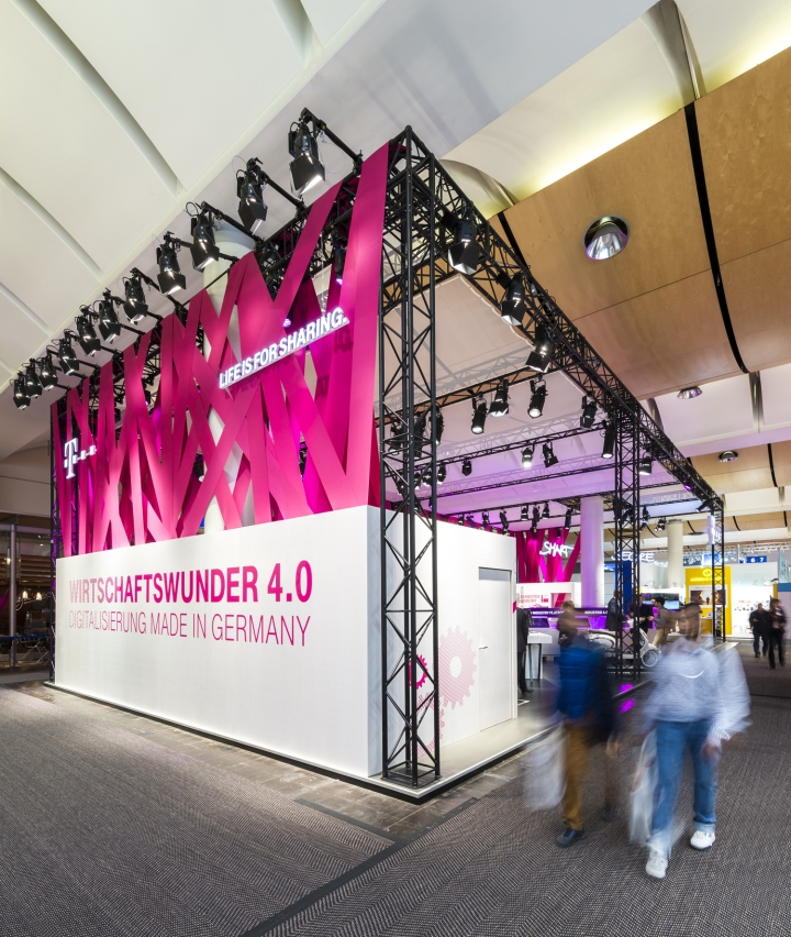 Exhibition Booth Design Germany : Deutsche telekom trade fair stand at hannover messe