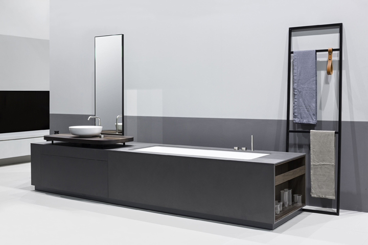 Manhattan integrated bathtub washbasin system by makro for Bathroom cabinets makro