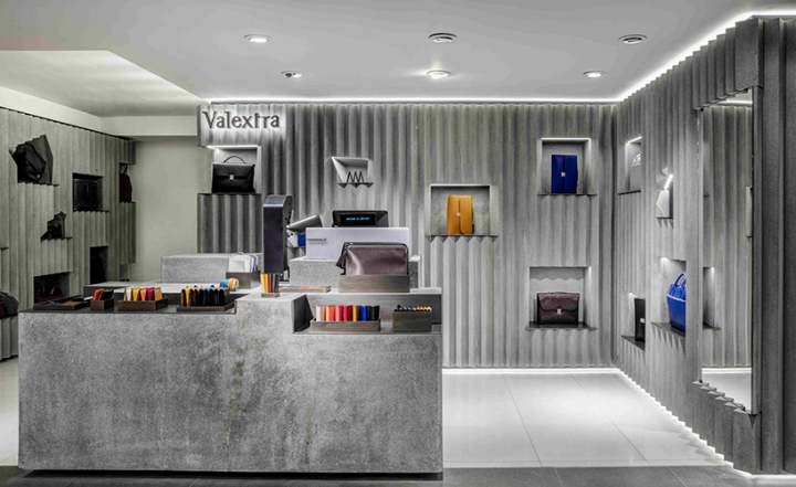Valextra retail space at harrods by david adjaye london for Retail interior designers in london