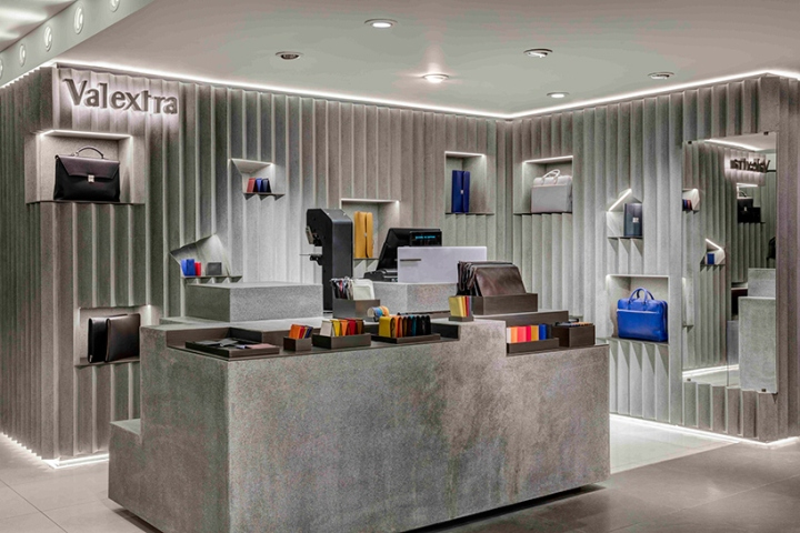 Valextra retail space at harrods by david adjaye london for Retail interior design agency london