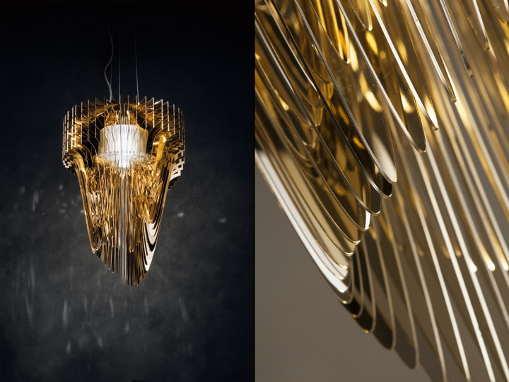 Aria gold chandelier by zaha hadid for slamp retail design blog morozzi continues noting that zaha was inspired by her own architectural works and without replicating them created decorative suspensions that avoided mozeypictures Choice Image