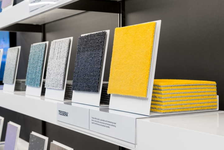 Working with Forbo  PWW identified problems that customers experienced  whilst distinguishing products in their extensive portfolio of over 2000  innovative. Forbo Flooring showroom by Pope Wainwright   Wykes  London   UK