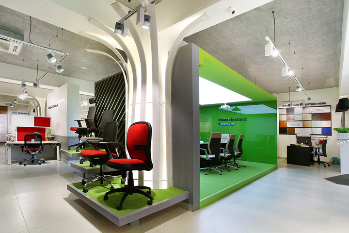 Design Interiors Furniture Showrooms ~ Godrej interio b store by four dimensions pune india