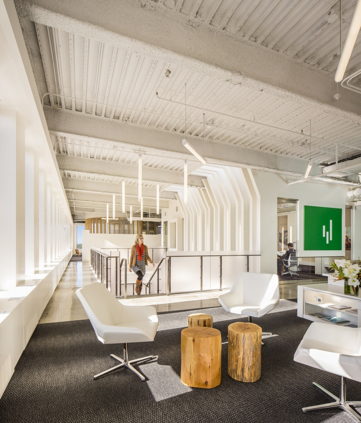 The New Office Space Occupies The Top Two Floors Of The Building. A  Monumental Stair Was Inserted To Connect The Reception Area On The Top Floor  With A ...