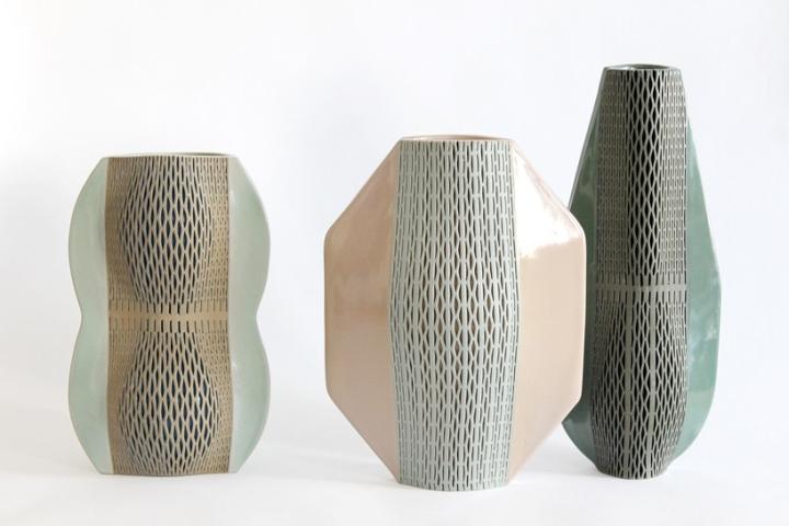 Ceramic vases by Hélène Morbu