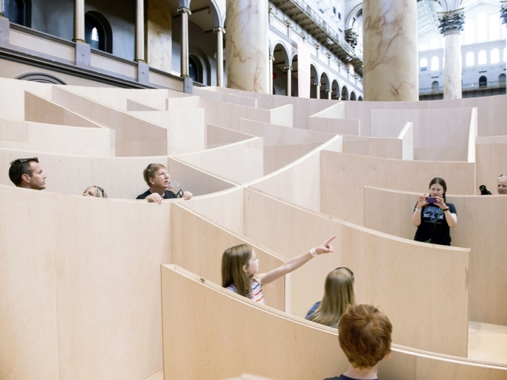 Labyrinth installation at the National Building Museum by Bjarke Ingels Group, Washington DC