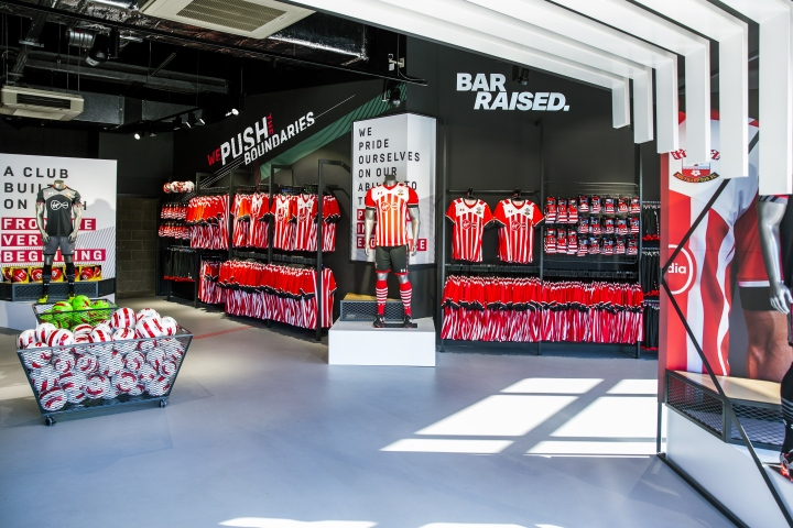Southampton football club store by green room design for Green room retail design