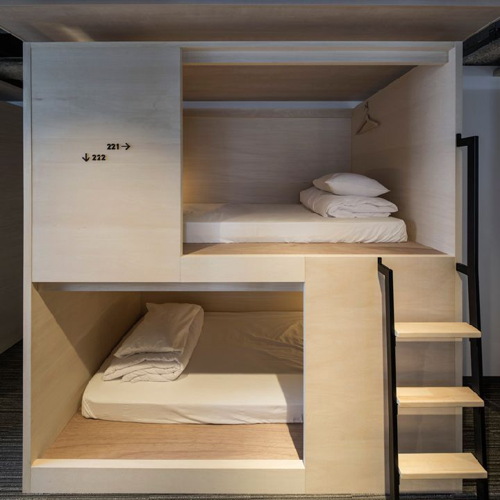 Unplan hostel by aida atelier tokyo japan retail for Hostel room interior design ideas