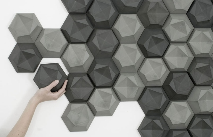 There are two basic forms  first  a 3D tile shape is made up of  asymmetrical surfaces that fold onto one plane  forming a hexagonal base. Modular Concrete tiles by Patrycja Domanska and Tanja Lightfoot