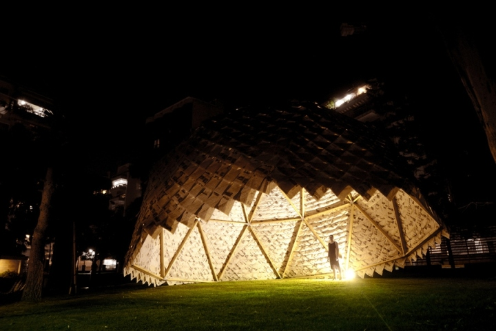 Paper Dome installation by YokYok and Ulysse Lacoste in Beirut, Lebanon