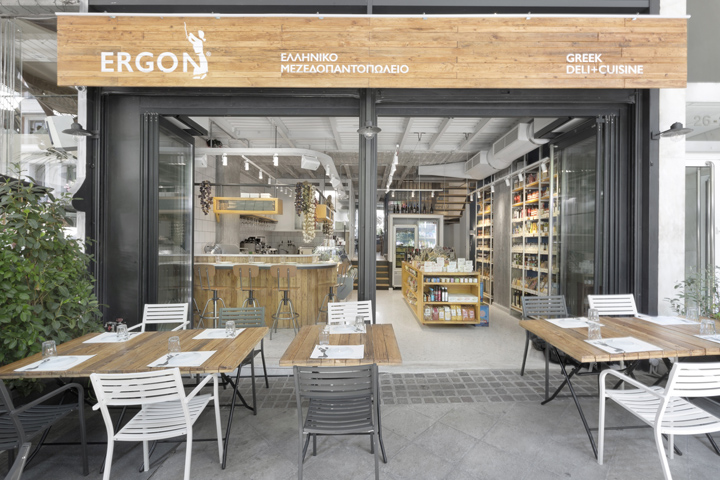 the floor is terrazzo and the walls of the deli were covered with white tiles on the next level the kitchen is located behind a glassmetal partition - Kitchen Design Greece