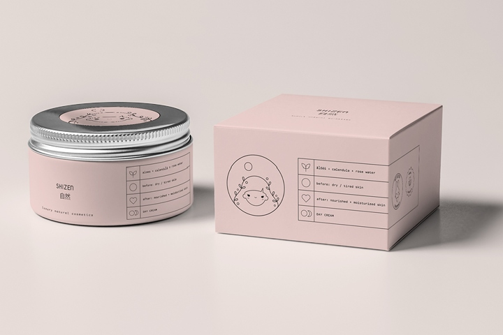 Shizen Luxury Natural Cosmetics Packaging By Paulina Helena Undziakiewicz