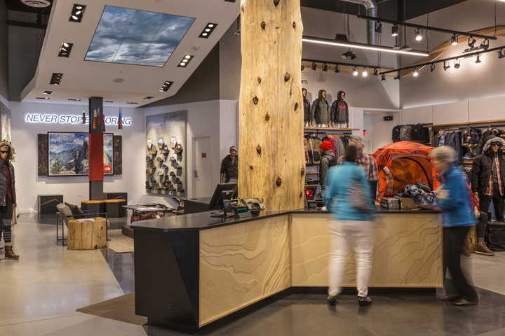 The north face flagship store by green room palo alto for Green room retail