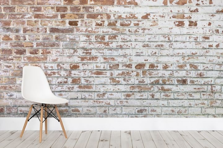Brick wallpaper by murals wallpaper retail design blog for Distressed brick wall mural