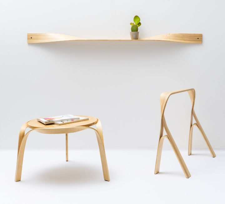 Furniture made of steam-bent and twisted wood by Bar Gantz