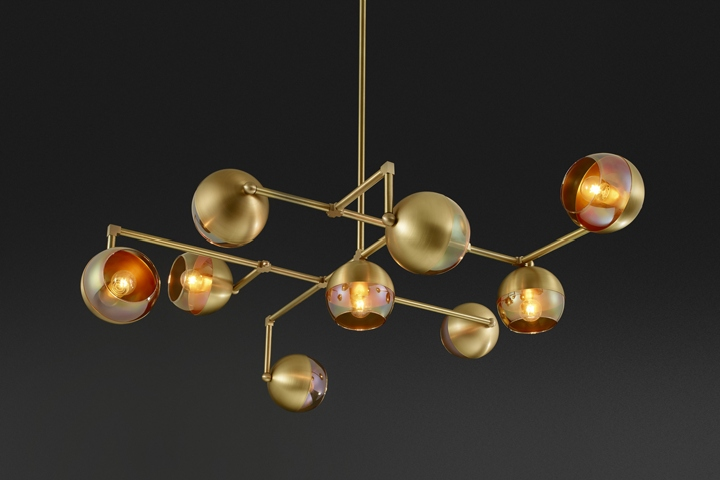 Awesome  as hand finished brass and hand blown glass to create sculpture like modern pieces ud said the Toronto based studio The Mode pendants feature milky