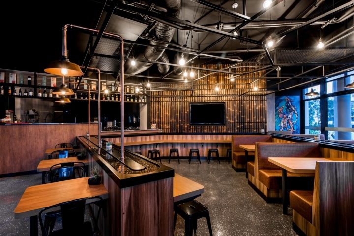 Koi Japanese Sushi Train Offers Authentic Healthy Food In A Modern Industrial Interior Environment We Have Gone With The Darker Tones And Hard
