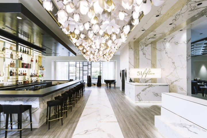 Seattle WA Houstons Contour Interior Design Took A Fresh Approach To Hospitality Using Cluster Of Eye Catching Blossom Pendants From